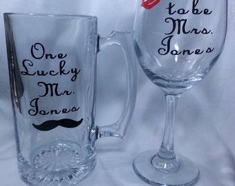 Personalized Engagement & Funny Wine Glasses, Bridal Shower, Engagement Gift, Soon to be Mrs Lips, One Lucky Mr Mustache