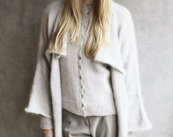 Angora Wool Knitted Cardigan, Fluffy Hand-Crafted Open Sweater Furry Wrap Waterfall Collar Silver Hand-Loomed Long Line Long Sleeves, Mohair
