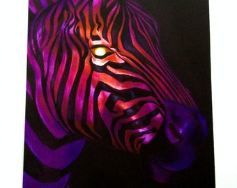 Sunset Stripes Zebra print from original color pencil drawing.