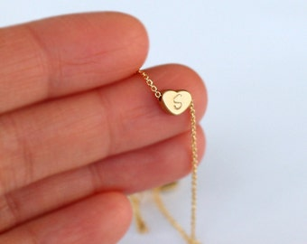 Initial heart necklace , Personalized Gold Heart necklace, mini 14k gold plated Heart,  Bridesmaid Gift Idea necklace jewelry, wedding gift