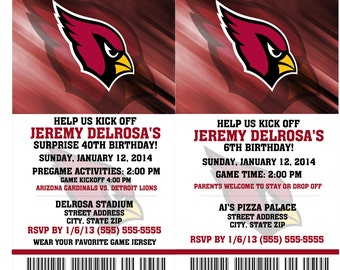 Printable Birthday Party Invitation Card Arizona Cardinals Birthday Ticket Invitation Card Arizona Cardinals Tickets Invitation Football