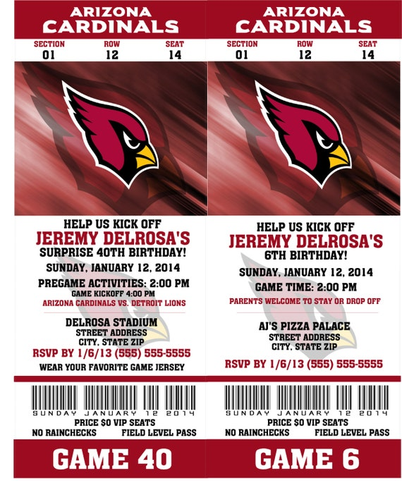 Printable Birthday Party Invitation Card Arizona Cardinals