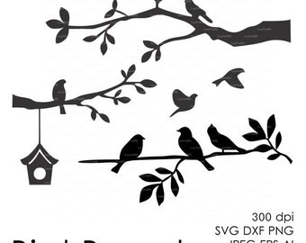 Bird Branch Cut File (eps, svg, dxf, ai, jpg, png) Silhouettes Vector Digital cutting file, Wall Art Print EasyCutPrintPD