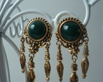 Vintage Designer Alfred Sung Forest Green and Gold Colored Chandelier Clip On Earrings