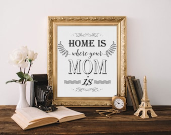 "Inspirational Print ""Home is..."" inspirational Quote Inspirational Art Typography Print Home decor Wall Art"