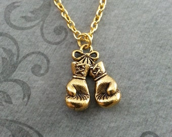 Boxing Gloves Necklace, SMALL Boxing Necklace, Boxing Gift, Boxing Jewelry, Boxer Necklace, Boxer Gift, Boxing Glove Necklace, Gold Necklace