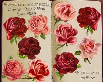 Red Rose Clipart: Rose Clip Art, Valentine Rose, Antique Roses, Victorian Rose, Pink Roses Clipart, Vintage Rose Graphics Flower Download