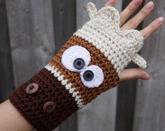 Crochet Moose gloves, crochet animal fingerless gloves, crochet moose wristwarmers, armwarmers