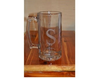 Personalized Etched Beer Mug, Groomsman, Father's Day, Beer Glass, Monogrammed