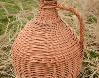 10 Liter Wicker Wrapped Demijohn, Large Wicker Wrapped Bottle, Decorative Demijohn Bottle, Willow Wrapped Bottle, Large Demijohn Bottle
