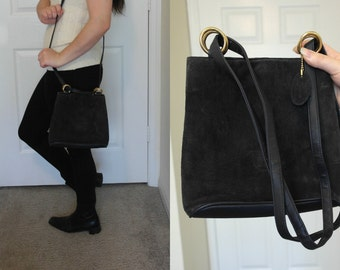 vtg 70's SUEDE PURSE blue leather tote bag