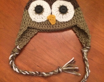 Crochet Owl Hat - READY TO SHIP