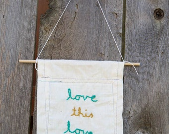 Embroidered Flag: love this love