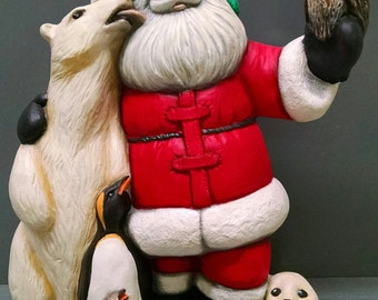 SALE!!!     Polar Santa -- Heirloom-quality handpainted ceramic Santa -- Christmas mantel decor