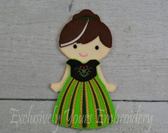 Ana Felt Paper Doll and outfit - Party Favor - Pretend Play - Quiet Game - Travel Toy - Flat Doll - Paper Doll - Dress Up Doll