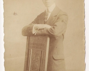 1920 Young man with chair Upcycled recycled repurposed Vintage Real Photo Postcard Photography, Paper Ephemera Antique RPPC Old scrapbooking