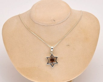 Magen David With Color Gemstone Sterling Silver 925 Neck Chain & Box