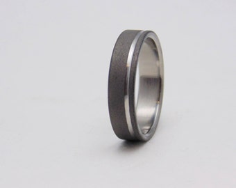 Sandblasted Titanium ring with polished groove,  Handmade titanium wedding band, Birthday Gift, Gift for Him, Gift for her, Special gift