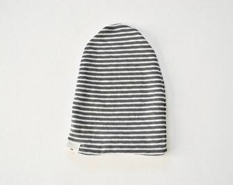 slouchy baby beanie, stripe beanie, baby boy, baby girl toboggan, slouchy knit hat, gray, grey, white, soft, hipster beanie, slouch baby hat