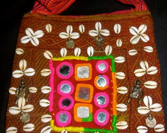 SALE# Banjara Gypsy Tribal Embroidered Bag/Purse Mirrors, Cowrie Shells, Metal Figures