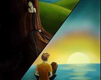 Nico Di Angelo and WIll Solace Painting Print, giclee, percy jackson, blood of olympus inspired