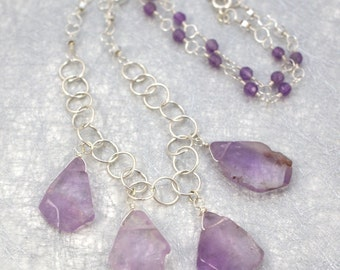 Raw Gem Collection - Amethyst and Silver Necklace - February Birthstone