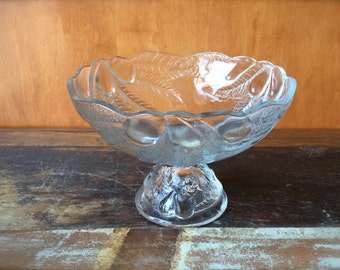 Glass Fruit Compote with Pedestal, Vintage Glass Fruit Bowl