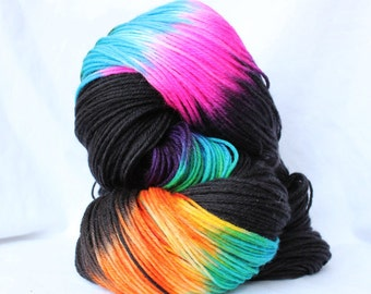 Hand Dyed Yarn, Black and Brights, variegated yarn, fingering weight, worsted bulky weight, superwash merino wool / nylon yarn, sock yarn,