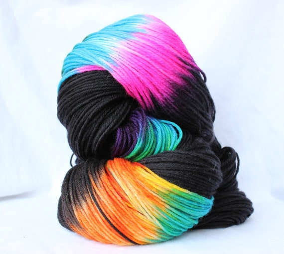 Hand Dyed Yarn, Black and Brights, variegated yarn, fingering weight ...