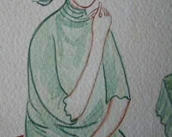 The Muse in a Green Dress / Original Watercolor Painting
