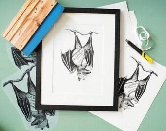 Limited Edition 'Baseball Bat' Print  *Free Postage within the UK*