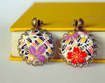 Japanese Fabric covered Button Earrings on antique brass filigree.