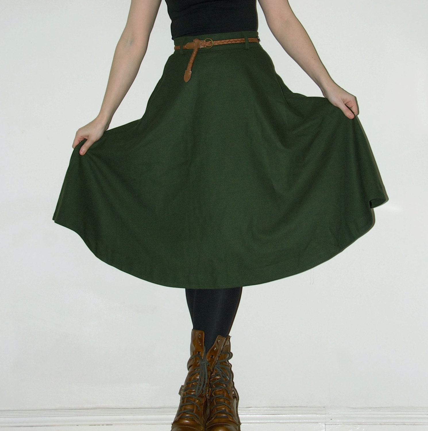 forest green high waisted circle skirt 27 inch waist by