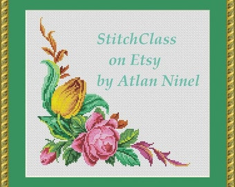 Floral corner with rosу tulip Cross Stitch Pattern Reconstructed according to tapestry style Berlin Wool work cross-stitch PDF crossstitch