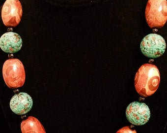 Brown Agate and Turquoise Handblown Glass Necklace