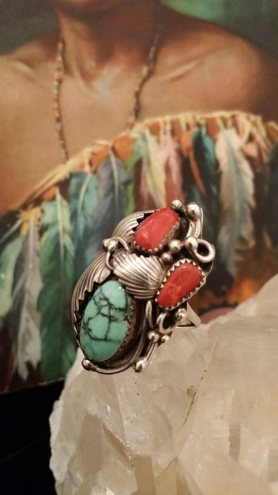 Signed Vintage Turquoise, Coral, Native American Sterling Silver Ring with Design - Size 7.75