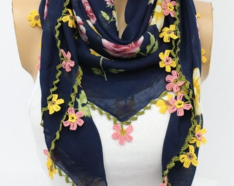Turkish Anatolians Floral Scarf - Hand crocheted lace Oya - Yemeni - Cowl Gift Ideas Fashion Accessories