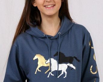 Horse Hoodie - Galloping Horses Sweatshirt