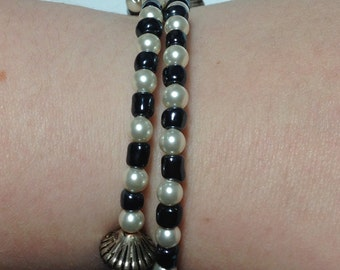 Freshwater Pearl Silver Scroll and Black Bead Double-Wrap Bracelet