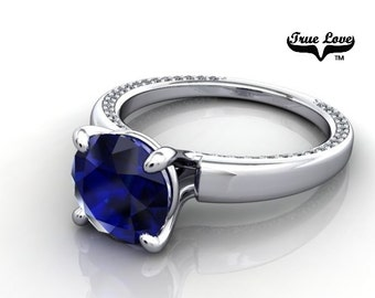 14 kt. White Gold True Love Round Chatham lab Created Blue Sapphire with Accent stones  Engagement Ring. #6705
