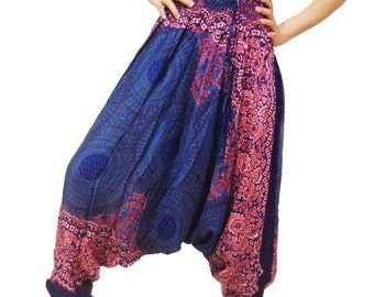 Sweet Flower Strips Harem Pants Wide Leg Pants (HA01-5)