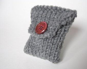 Grey Tea Bag Tote - Tea Organizer - Knit Tea Bag Wallet - Tea Pouch - Tea Bag Holder - Tiny Knitted Purse - Coin Purse - Gift for Tea Lover