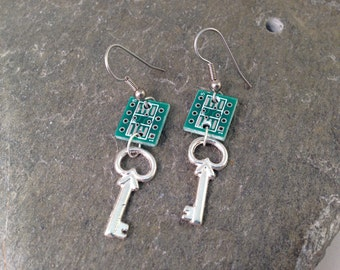 Upcycled Circuit Board Key Earrings, Silver Tone Charm on Reclaimed Computer Parts, Fun Geeky Software Engineer or Nerd Gift, Statement
