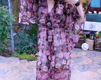 1970's Vintage Boho Chic Sheer Floral Kimono Dress