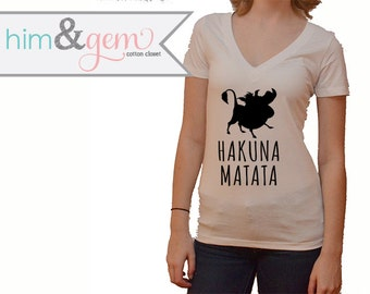 Hakuna Matata Lion King Silhouette Women's V-Neck Short Sleeve Shirt // Disney Lion King Shirt // Disney Lover Shirt // Pumba Shirt
