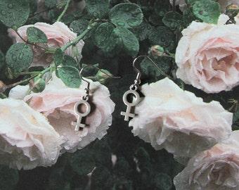 Girl Gang Club: Female Venus Symbol Earrings and Choice of Feminist Patch