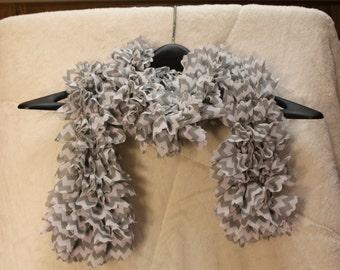 Grey Chevron Knit Scarf