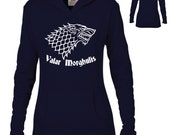 Game of Thrones Inspired Clothing - Valar Morghulis Stark Wolf Semi-Fitted Lightweight Pullover Hoodie - Ladies