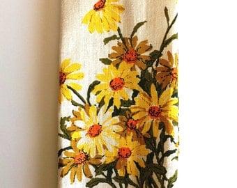 Mid Century Vintage Floral Linen Tea Towel