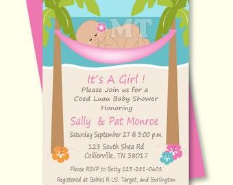 DIY Tropical Baby Shower Invitation  Hawaiian Baby Girl Invitation   Hibiscus Flowers, Beach And